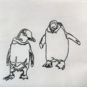 オリジナルマスク  ペンギン線画 |